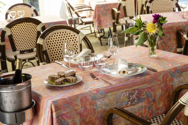 Table laid on the terrace